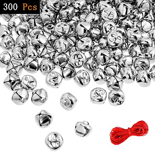 300 Pcs Jingle Bellls, 1/2 Inch Bells for Craft Christmas Silver Bells DIY Bells Charms for Christmas Festival Home Pet Decoration with 20 Meter Red String
