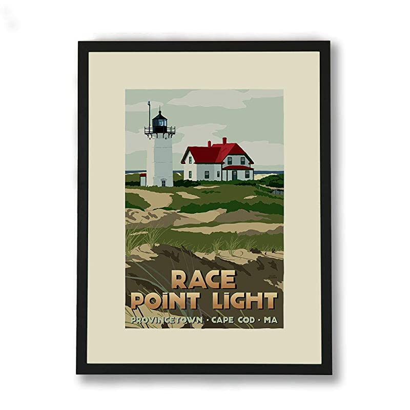 Lighthouse Painting Race Point Light Art Original Art Massachusetts Seascape Artwork Small Wall Art 9.4 by 7 by TaisiArt