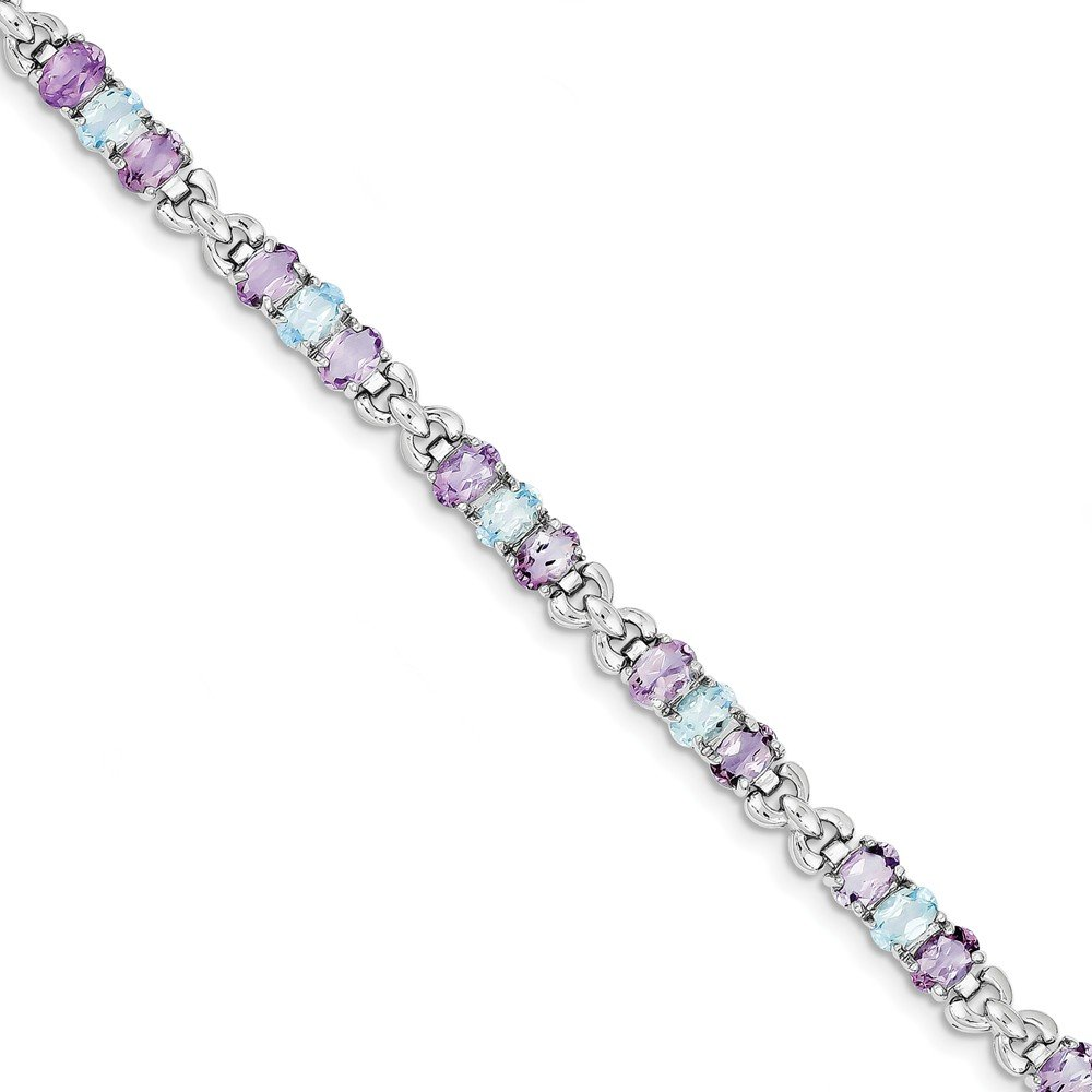 Sterling Silver Simulated Amethyst and Blue Simulated Topaz Bracelet (6mm)