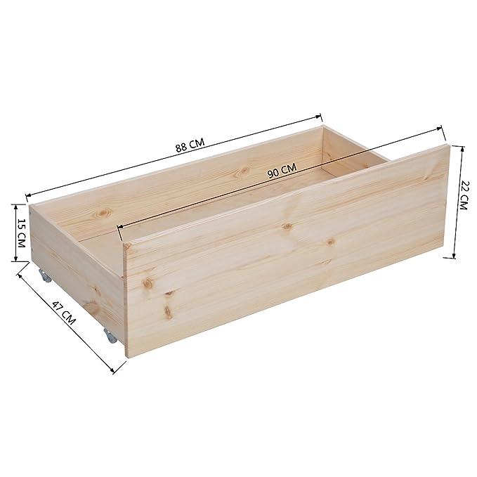 Cajonera de madera de pino Homycasa, para debajo de la cama ...