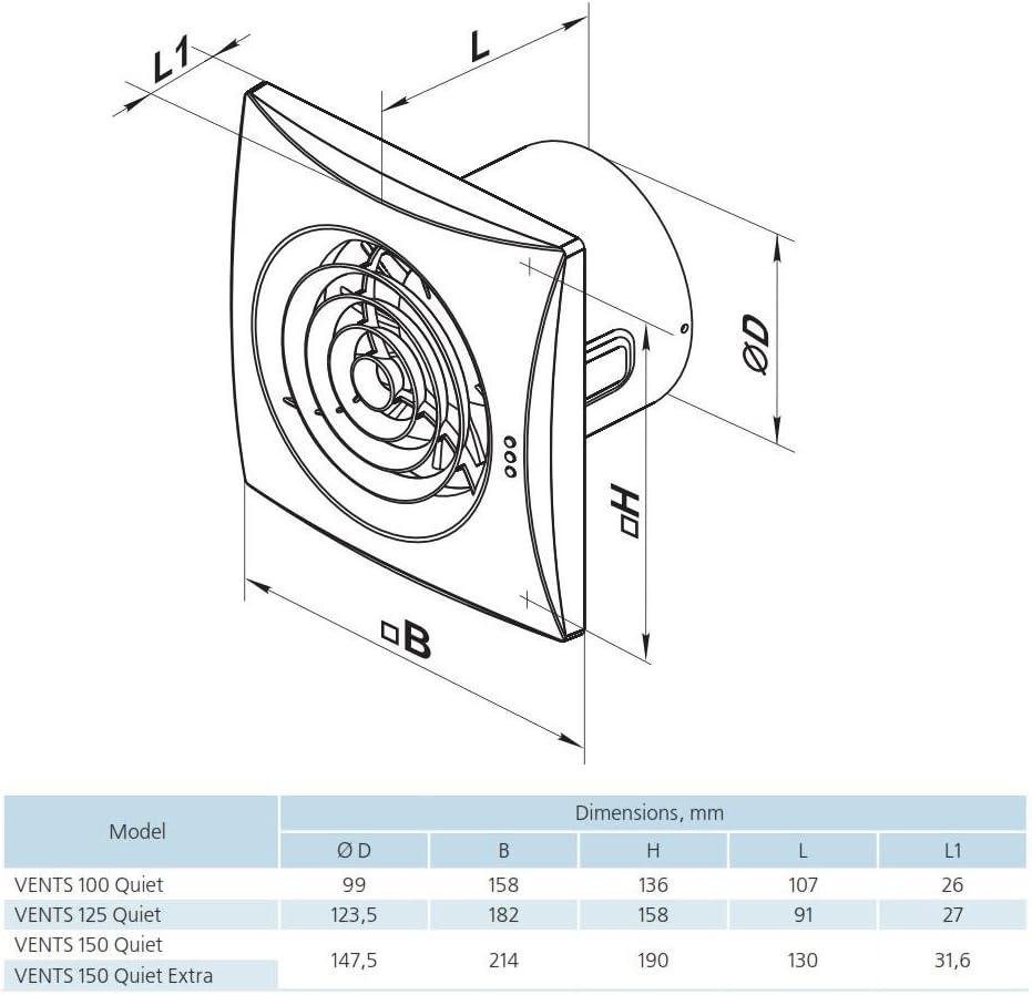 sehr leise energiesparend 125 mm R/ückschlagfolie Ventil Kugellager Innovativer ger/äuscharme und energiesparende L/üfter Ventilator ORIGINAL Vents 125 QUIET TIMER Nachlauf