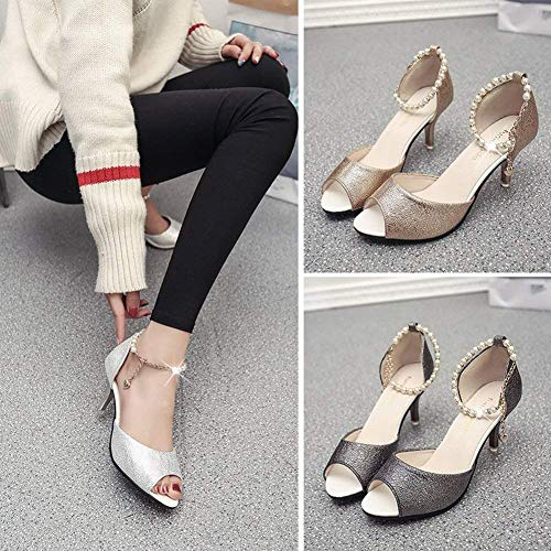 Sexy 39 Sandales Strap Or Strap Ol Femmes Fine Avec Perles Ankle Taille Open Shoes Or Des Diamonds Pour Fishmouth Couleur 5qUEPwHR