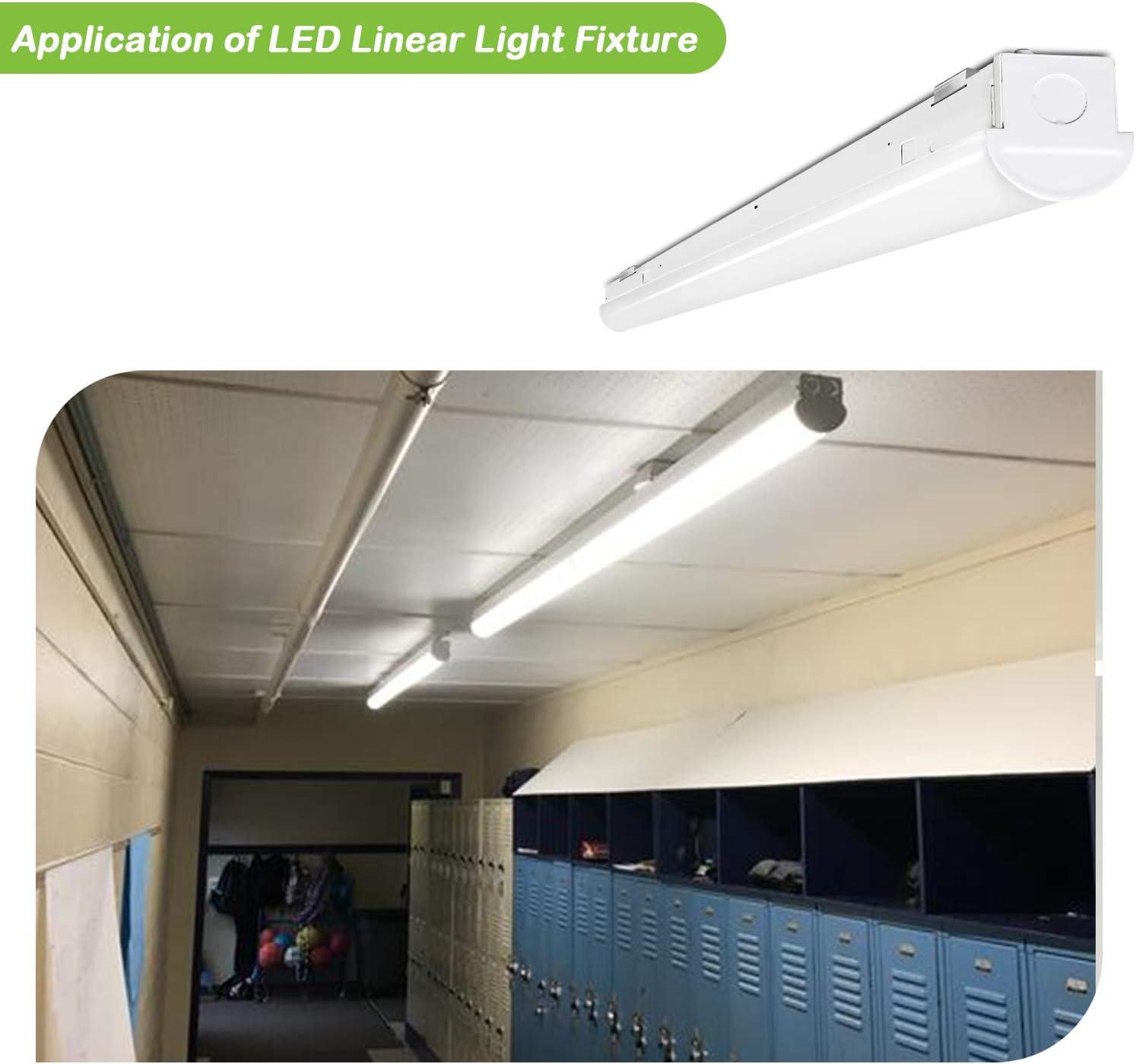 DLC Complied 5000K Daylight Hykolity 8FT LED Shop Light Commercial 8 Foot LED Strip Light Fixture -4 Pack 75W 9750LM Linkable LED Garage Light, 5-lamp F32T8 Fluorescent Equiv. 0-10V Dimmable