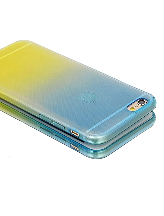 Amazon.com: eDealMax Volver cubierta de la caja de luz Azul Amarillo w película protectora Para el iPhone 6 limpiaparabrisas: Electronics