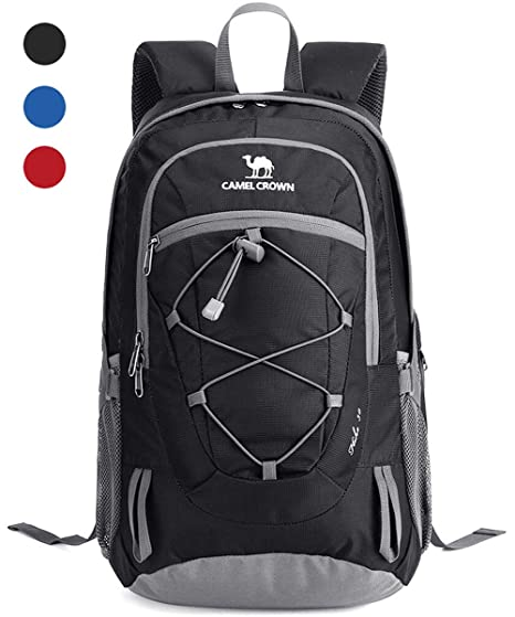 9e18b4aae720 CAMEL CROWN 30L Lightweight Travel Backpack Outdoor Mountaineering Hiking  Daypack with Durable   Waterproof (Black