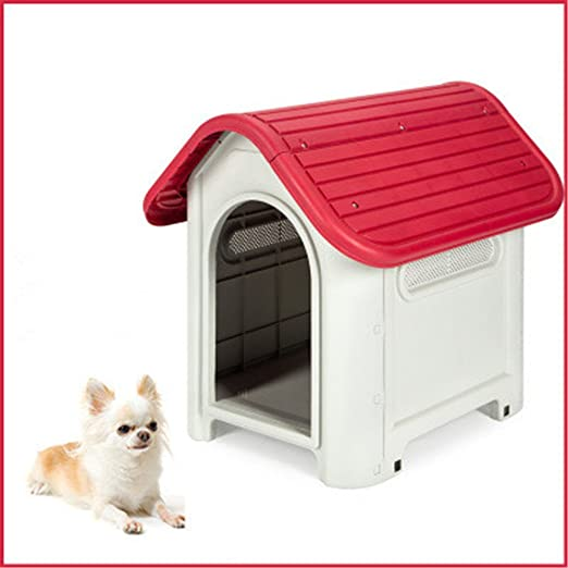 Jomax - Caseta de plástico para mascotas con puerta extraíble para exteriores: Amazon.es: Productos para mascotas