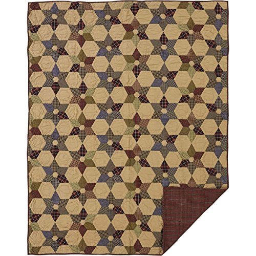 VHC Brands Rustic & Lodge Primitive Bedding - Tea Star Tan Quilt Twin Dark