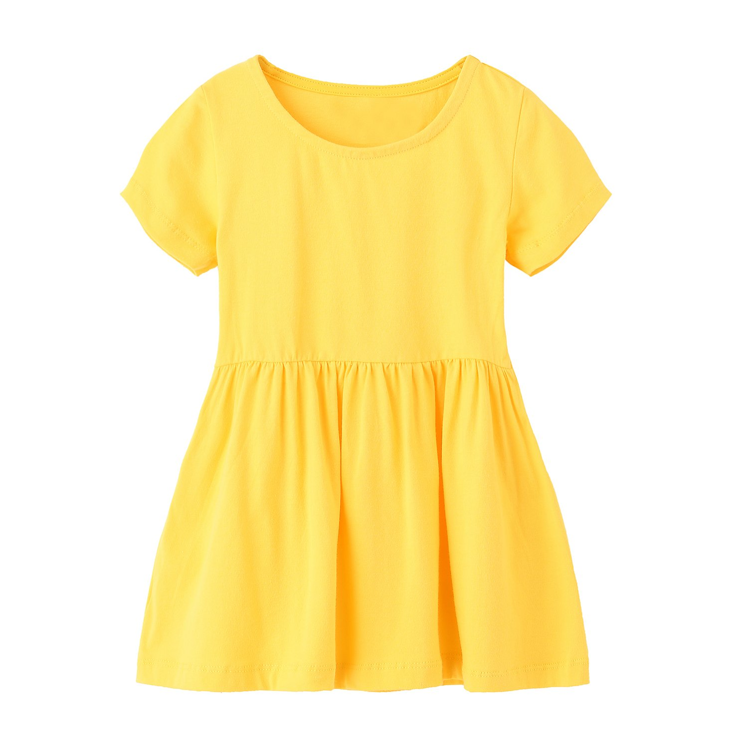 HowJoJo Girls Summer Cotton Dresses Short Sleeve Casual Dress for Girls Yellow 4T