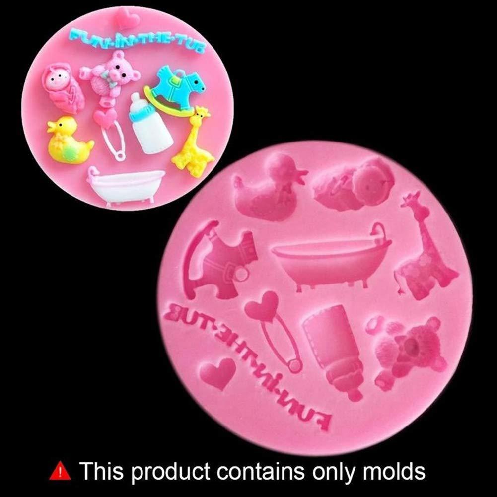 super1798 Baby Toy Feeding Bottle Silicone Fondant Cake Mold Chocolate Decorating Tool - Pink