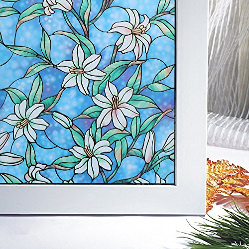 Bloss Vinyl Static Cling Window Shade Blue Orchid Privacy Stained Glass Decorative Window Film 17.7 x 78.7 Inches
