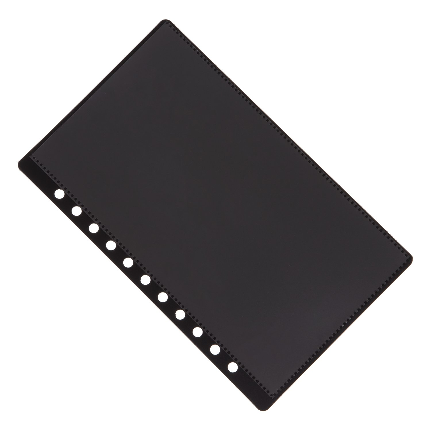 11 Hole Aerobind QRH Cover - 6.92 Inch Wide Black Rigid Pilot Checklist Cover With Attached Pockets - 100 Per Pack