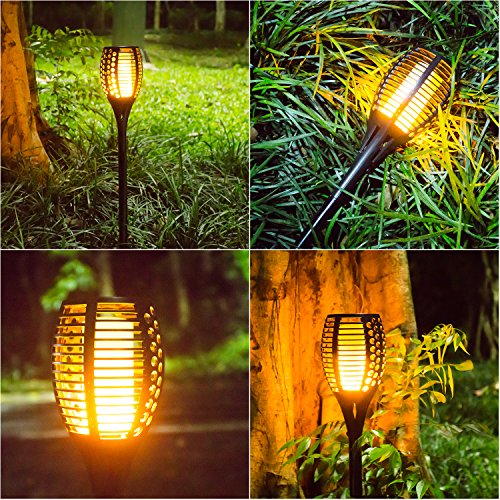 Openuye Solar Garden Tiki Torch Light 96 Led Flickering
