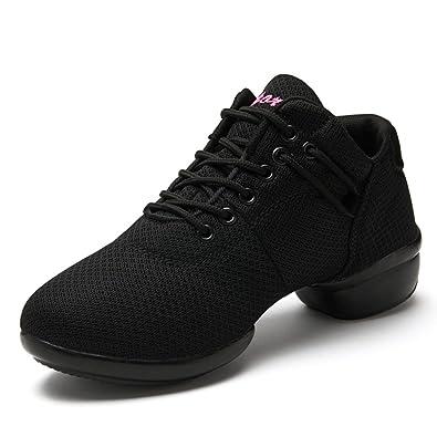 online retailer 26eb7 c022c Modern Dance Trainers Jazz Comfort Sneakers for Women Ladies Ballroom Mesh  Soft Split Sole Black Pink Red White 35-41