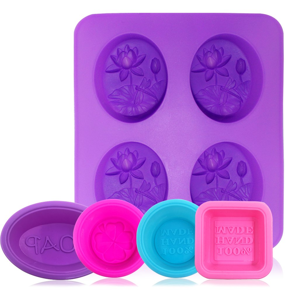 Silicone Soap Molds Oval AFUNTA 5 pcs//8-cavity Non-stick Soap Making Supplies Cupcake Muffin Baking Pan Round Square