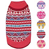 #4: Blueberry Pet 5 Patterns Fair Isle Style Sugar Coral Pullover Dog Sweater with Valentine Heart, Back Length 20