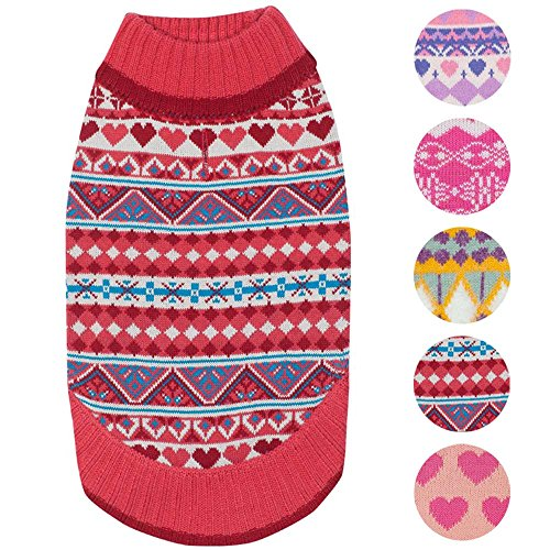Blueberry Pet 7 Patterns Fair Isle Style Sugar Coral Pullover Dog Sweater with Valentine Heart, Back Length 10, Pack of 1 Clothes for Dogs
