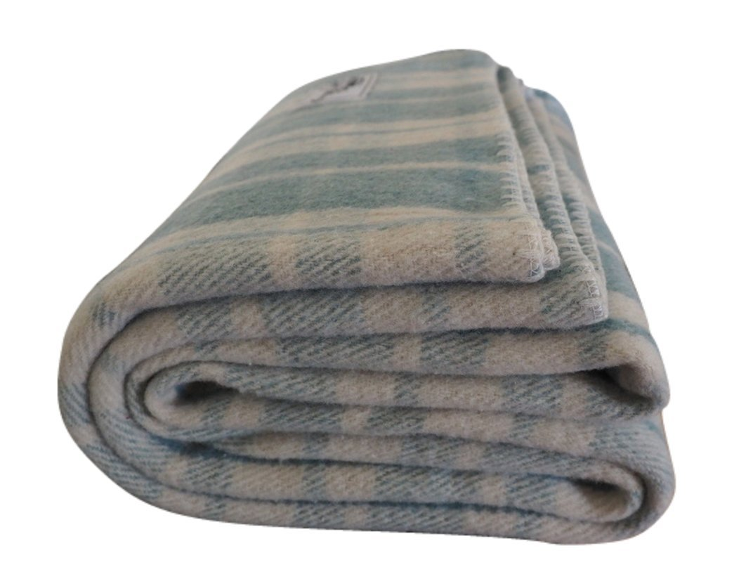 Woolly Mammoth Woolen Company Farmhouse Collection French Country Wool Blanket (Teal/Cream Plaid)