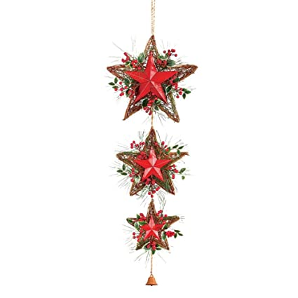 collections etc rustic hanging christmas stars door decoration
