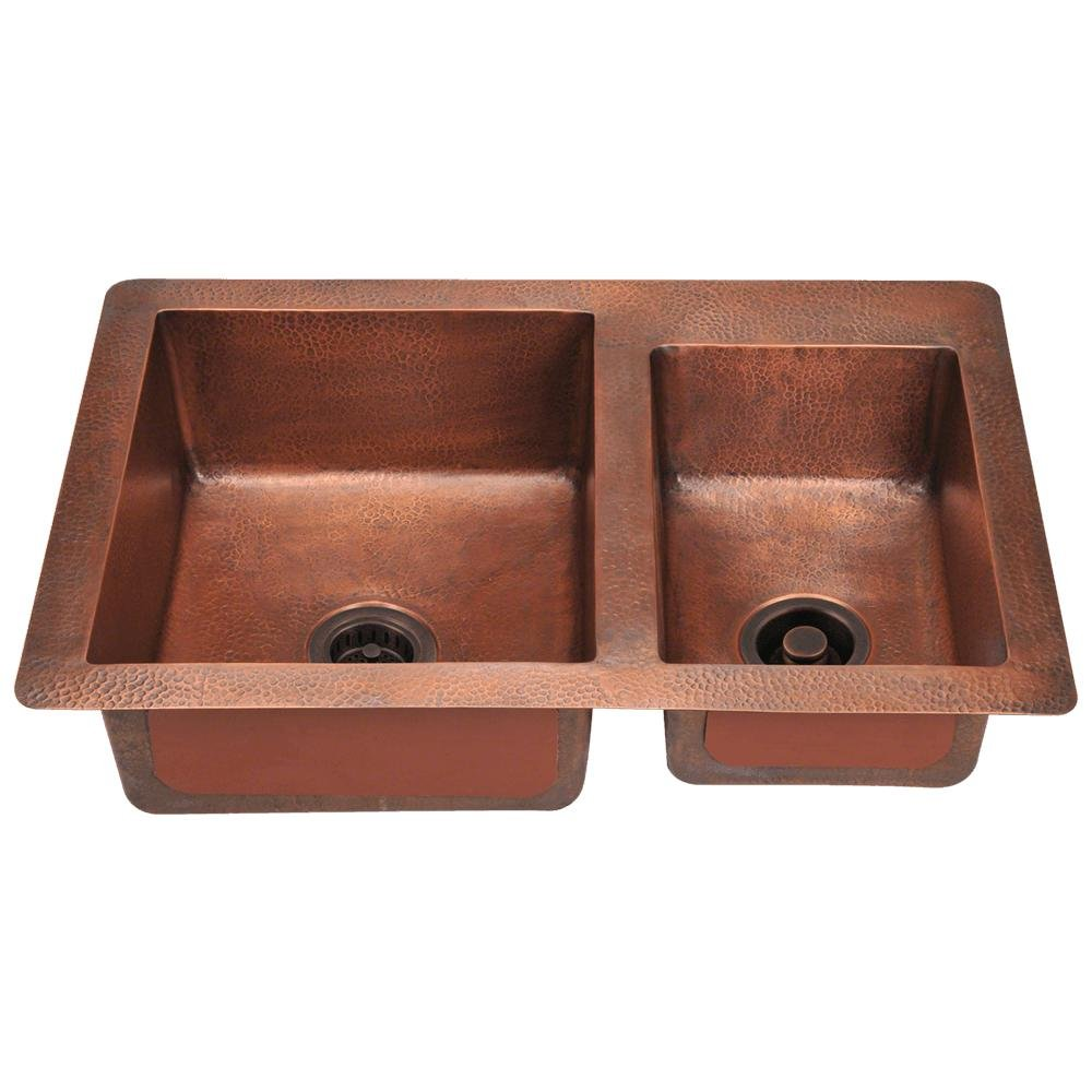 901 Offset Double Bowl Copper Sink, Sink Only