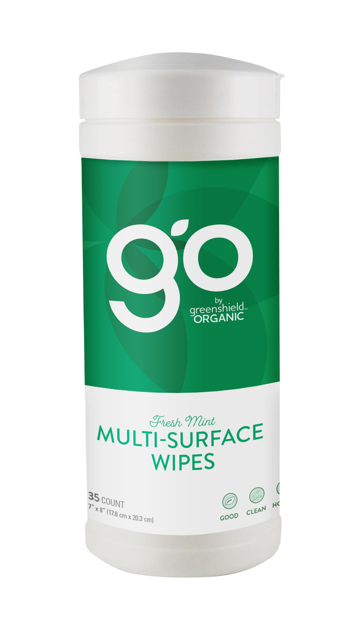 GO by GreenShield Organic 35 Count Multi-Surface Wipes -Fresh Mint (6 Pack)