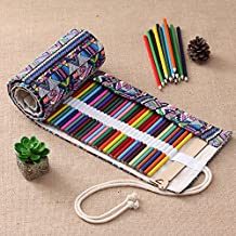Comfspo Ethnic Style Pencil Pounch Roll Canvas Pencil Wrap,36 to 108 Colored Pencils Roll Pouch Case Holder Best Gift for Artists