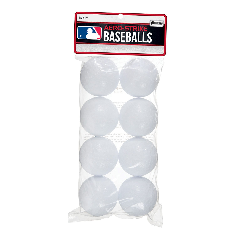 Franklin Sports Aero-Strike Plastic Baseballs-Pack of 8 (70mm) 14938P6