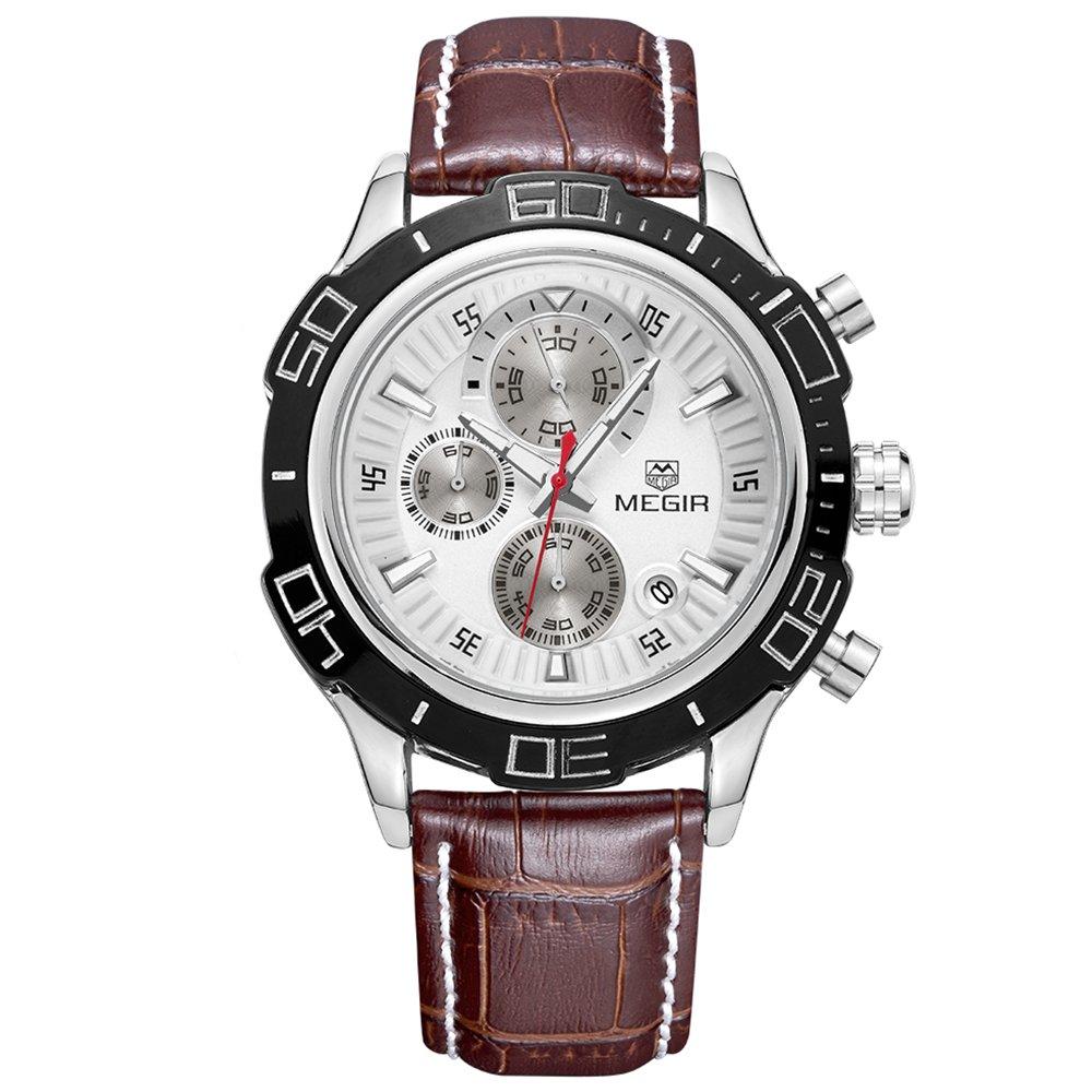 Reakle Women's Luxury Business Movement Quartz Analog Calendar Chronograph Date Waterproof Sports Wrist Watch (Brown)