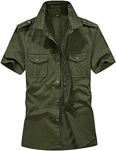 CAOQAO- Camisa de los Hombres Camisas de los Hombres de Color Puro Moda Casual Bolsillo Militar Manga Corta Camiseta Suelta Tops: Amazon.es: Ropa y accesorios