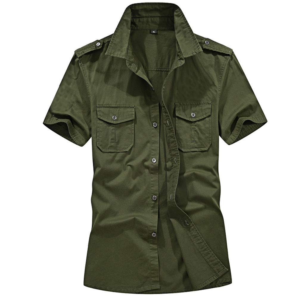 vermers Men's Short Sleeve Shirt Casual Fashion Military Pure Color Pockets Button Down Shirts Loose T-Shirt Tops(L, Army Green)
