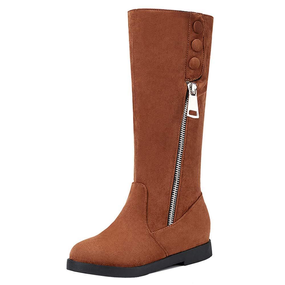 ZHRUI Frauen - Mid Heel - Mid Calf Stiefel - halber Reißverschluss