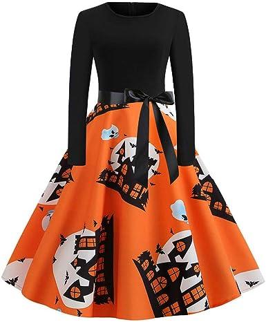 Vestiti Eleganti Halloween.Abiti Donna Polpqed Donna Abito Manica Lunga Stampata Vestiti