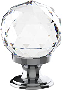 Alzassbg AL1002 Crystal Glass with Chrome Plated, 1-1/5 Inch(30mm) Cabinet Hardware Round Diamond Shape Knobs for Cupboard and Drawer 10 Pack