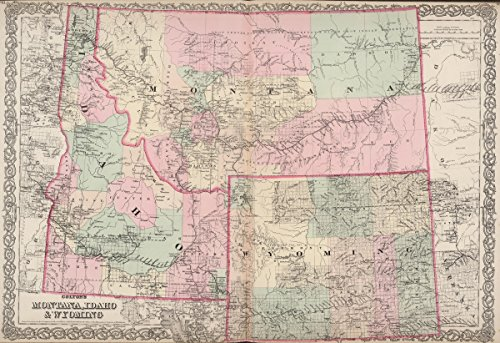 World Atlas | 1886 Montana, Idaho and Wyoming. | Historic Antique Vintage Map Reprint by historic pictoric