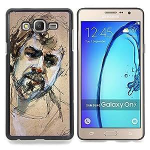 Stuss Case / Funda Carcasa protectora - Retrato Sketch Barba hombre triste - Samsung Galaxy On7 O7