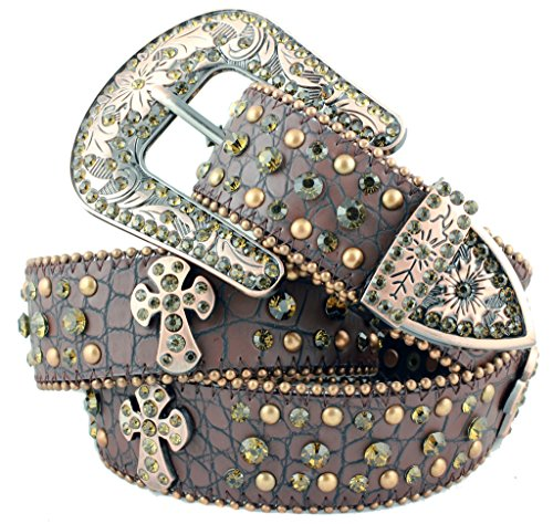Deal Fashionista BROWN Cross Rhinestone Western Bling Studded Removable Buckle Belt
