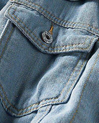 Homme Jean En Manteau Shifan Casual Blouson Bleu Leger Veste Manches Longues 6xOwxtnRfq
