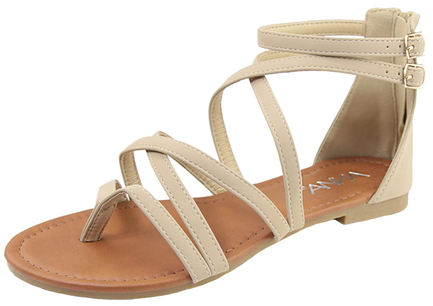 ccae718e420 Amazon.com  Anna Shoes Women s Strappy Buckle Accent Zip Heel Flat Sandal   Shoes
