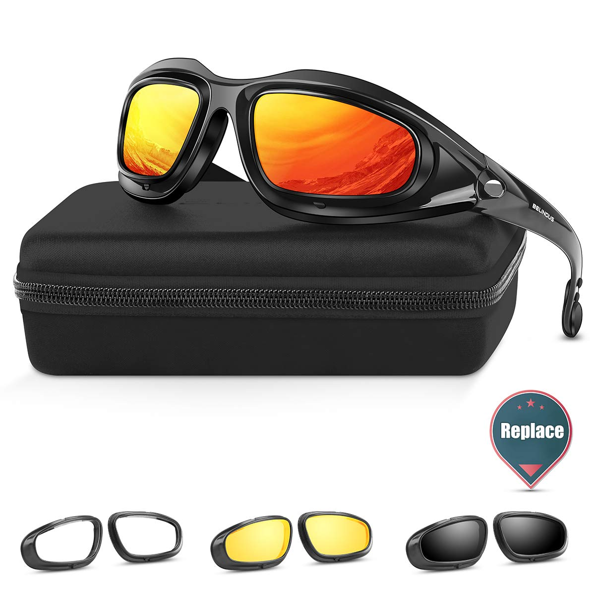 BELINOUS Polarized Motorcycle Riding Glasses, Tactical Glasses w/Black Frame 4 Lens Kit Copper Smoke Clear Yellow for Sports Outdoor Activities Cycling Hiking Climbing Skiing Hunting Fishing Driving by BELINOUS