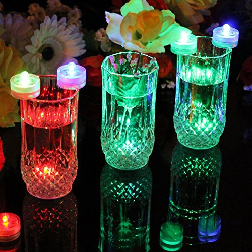 PK Green Underwater LED Lights   Set of 10 Battery Operated Colour Changing Submersible Tea Lights   Waterproof Flameless Candles for Hot Tub, Pool, Bath, Spa, Bowl, Centrepiece, Vase, Aquarium, Fish by PK Green (Image #1)