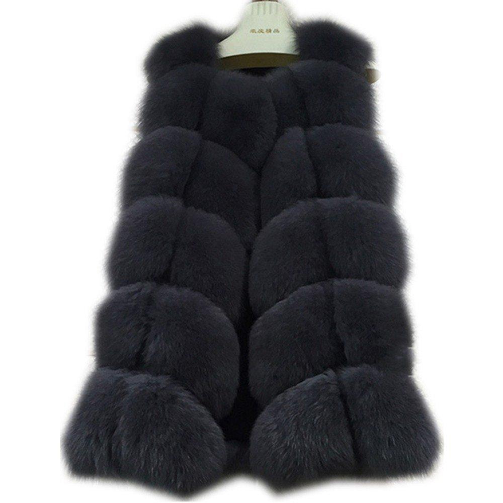 Dark Grey qmfur Women's Fox Fur Vest Real Fur Sleeveless Winter Warm Waistcoat