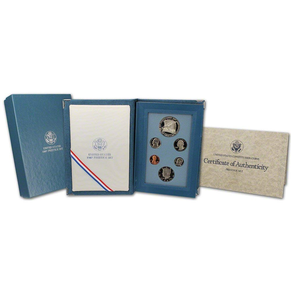 1987 US Mint Prestige Proof Set Original Government Packaging with Silver Constitution Dollar Proof