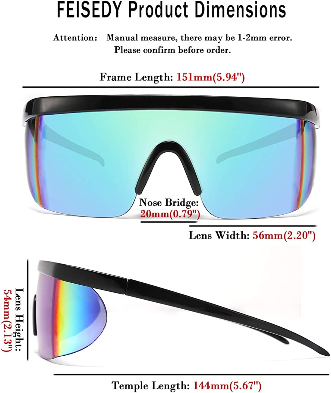 FEISEDY Classic Flat Top Shield Sunglasses Oversized Mirror One Piece Sport Glasses Men Women B2522