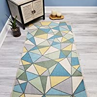 Your Choice Length Blue & Green Mosaic Tiles Non-Slip Rubber Backed Carpet Runner Rug | 31-inch x 4-feet