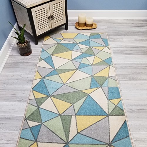 Your Choice Length Blue & Green Mosaic Tiles Non-Slip Rubber Backed Carpet Runner Rug | 22-inch x 6-feet (Yellow Sage)