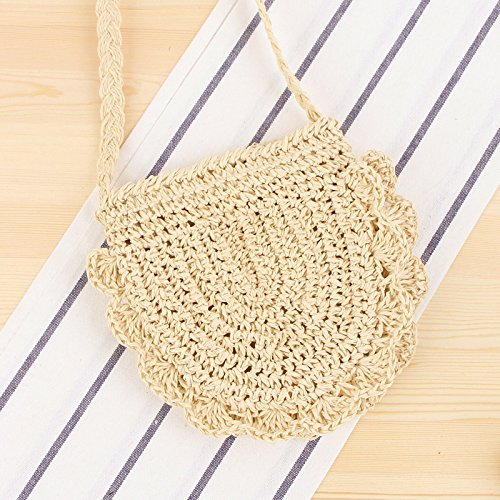 Beige and Bag Bag Crossbody Purse Weave 2 Beach Straw Shoulder Handbags Round Women Summer wqC75vH