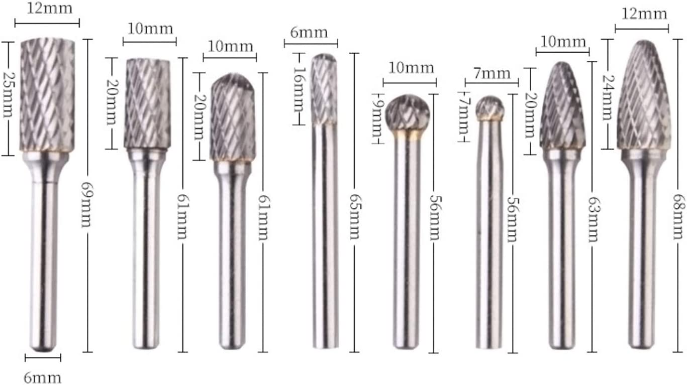 Rotary File Electric Grinder Wood Carving Accessories Tungsten Steel Grinding Head 8 Pcs Tungsten Steel Drill Bit