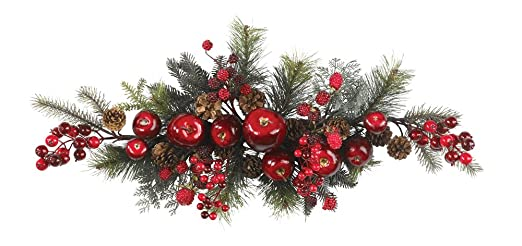 Christmas Tablescape Decor - Nearly Natural red apple and berry evergreen and pine swag