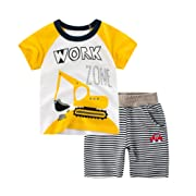 Little Boys Summer Cartoon Cotton Clothing Sets Kids Baby Toddler T-Shirt&Shorts Outfits Set Clothes (Yellow, 7-8 Years)