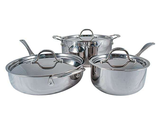 Amazon.com: Le Chef 5-ply Stainless Steel 6 Piece Cookware Set with Stainless Steel Lid.: Home & Kitchen