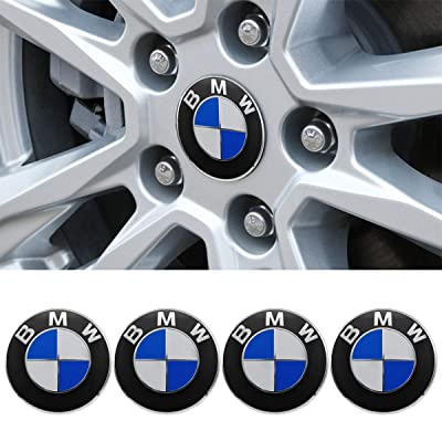 "Wall Stickz car Sales Wheel Center Hub Caps Fit for BMW, 4PCS 68mm/2.7"" Hub Cap Cover Emblem Badge Blue & White (fit BMW 68mm): Automotive"